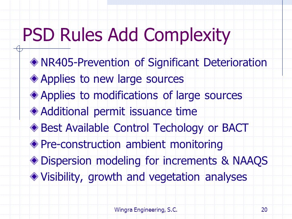 PSD Rules Add Complexity