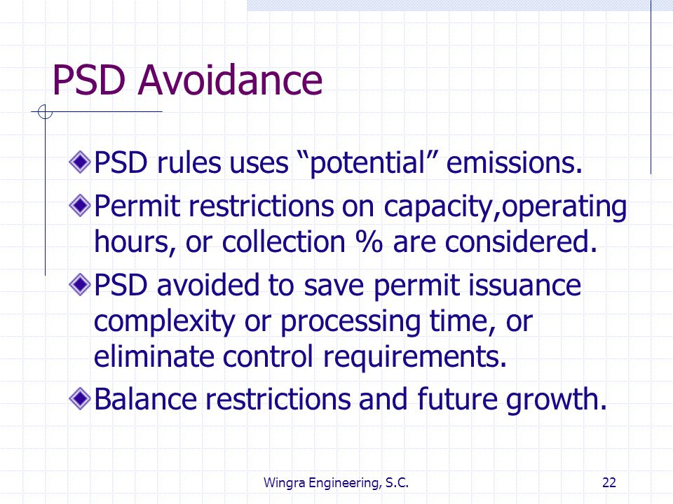 PSD Avoidance PSD rules uses potential emissions.