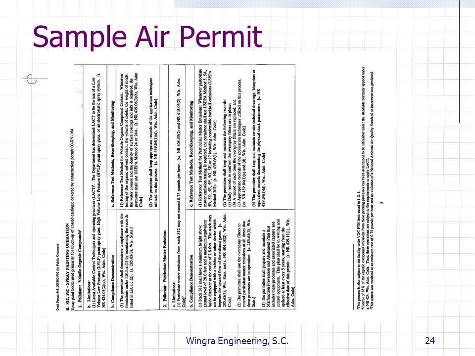 Sample Air Permit Wingra Engineering, S.C.