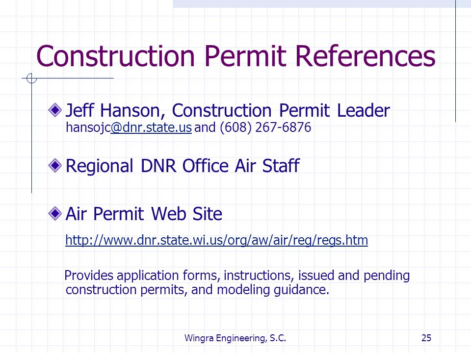 Construction Permit References