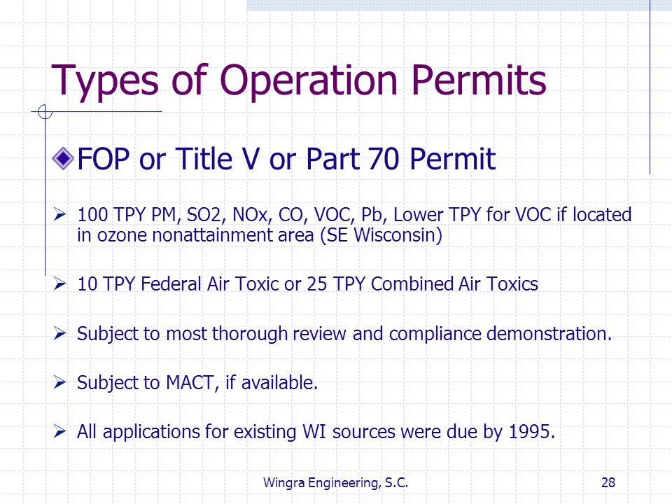 Types of Operation Permits