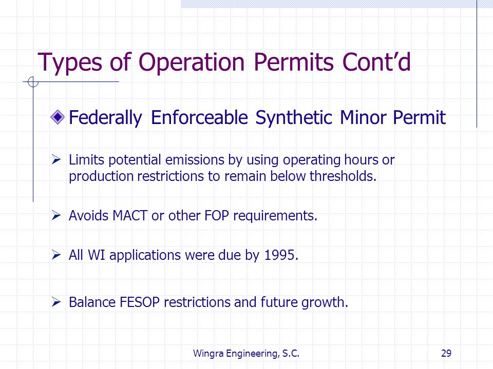 Types of Operation Permits Cont'd