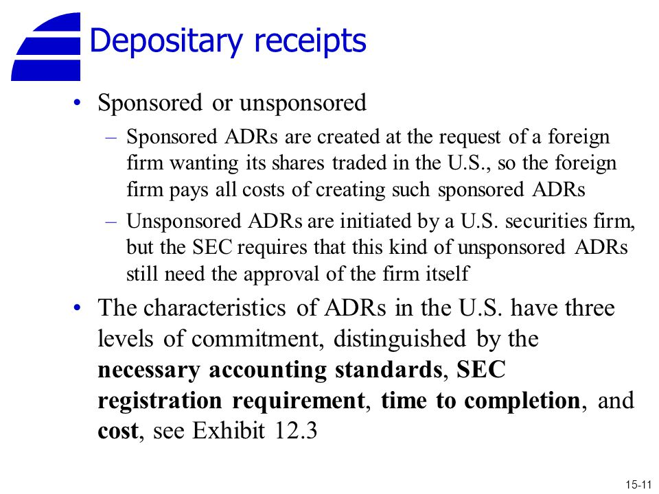Depositary receipts Sponsored or unsponsored