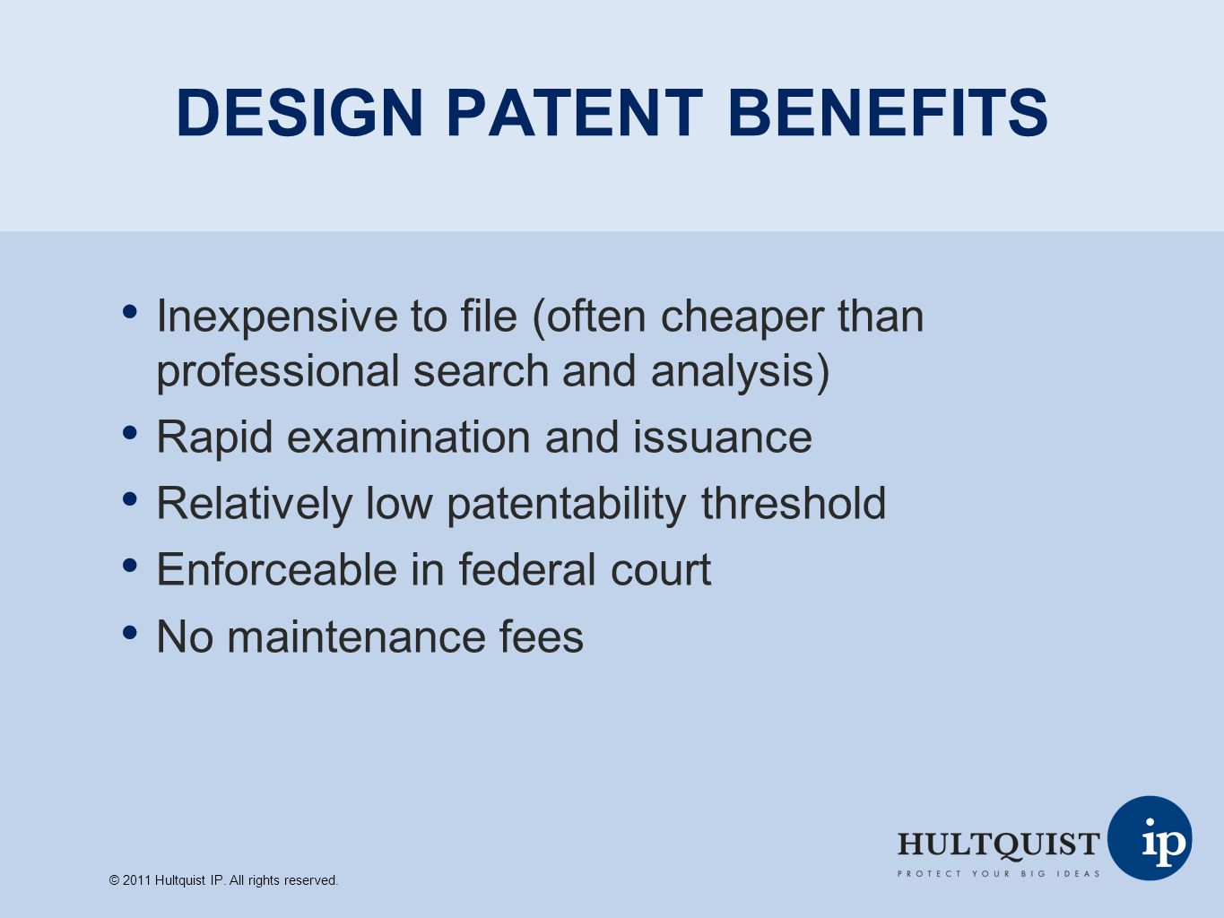 DESIGN PATENT BENEFITS