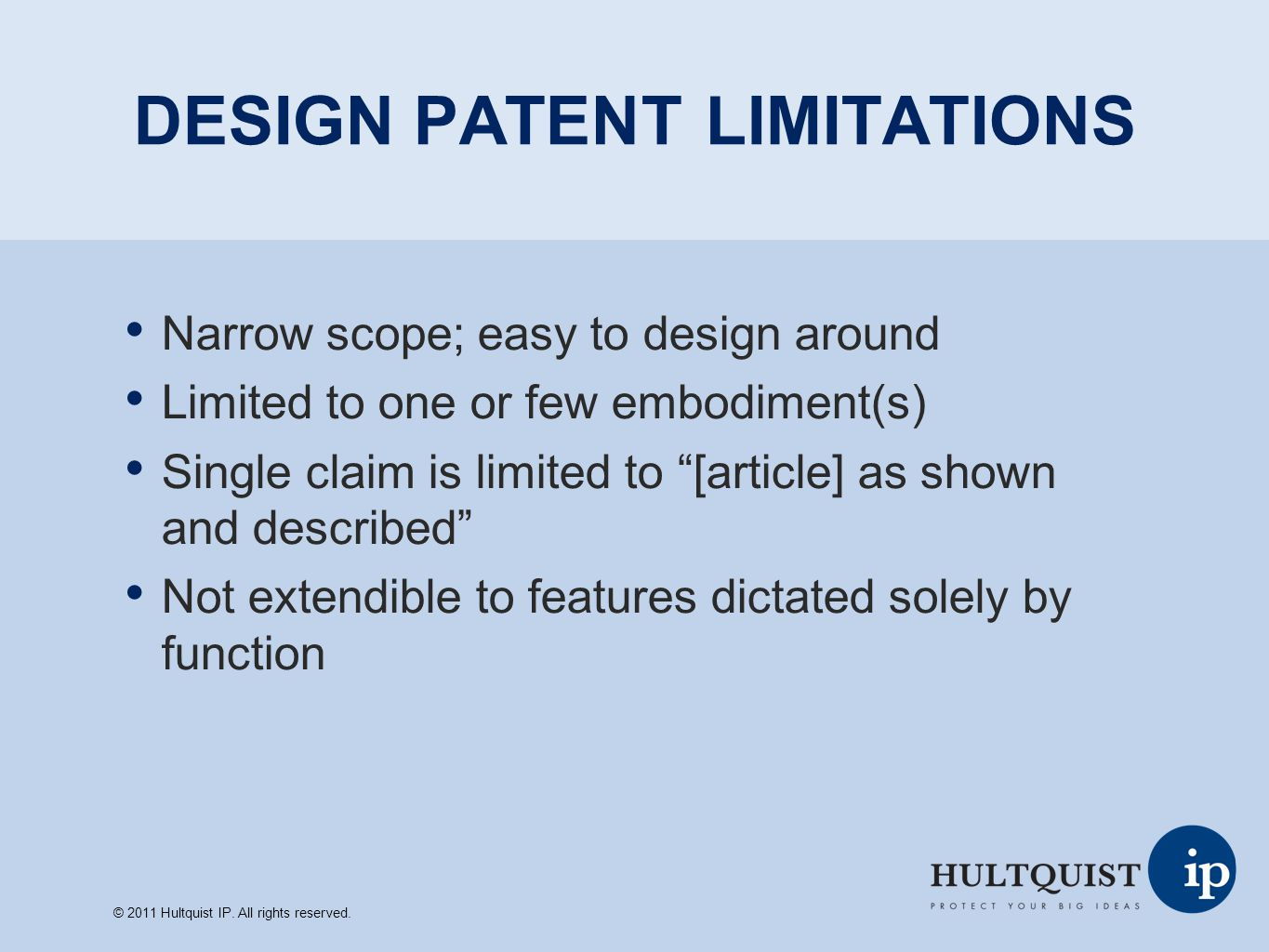 DESIGN PATENT LIMITATIONS