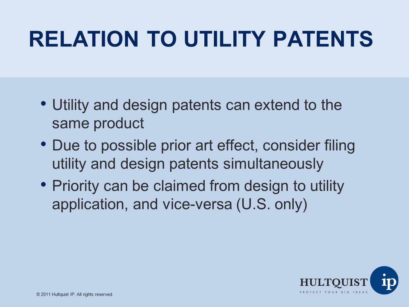 RELATION TO UTILITY PATENTS