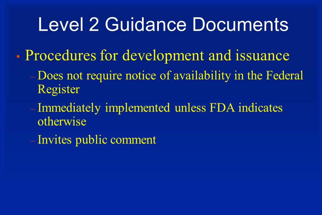 Level 2 Guidance Documents