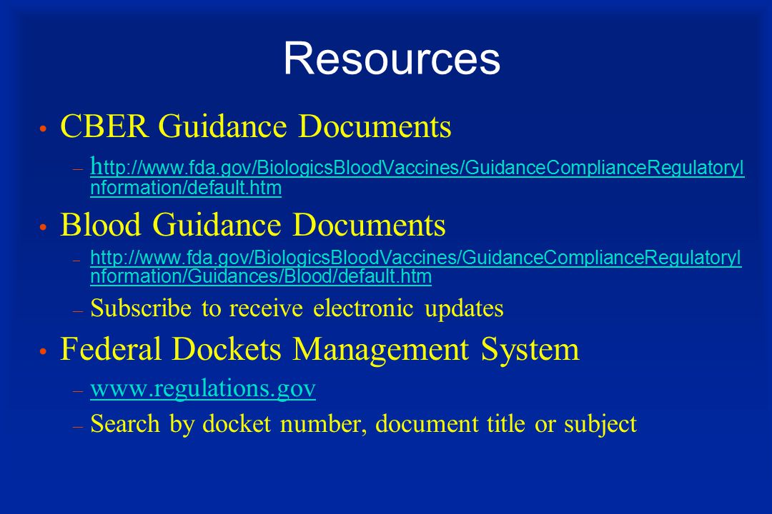 Resources CBER Guidance Documents Blood Guidance Documents