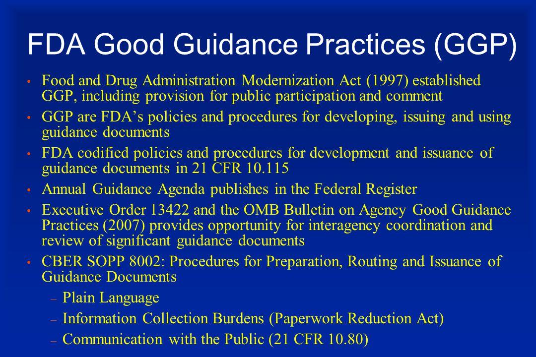 FDA Good Guidance Practices (GGP)