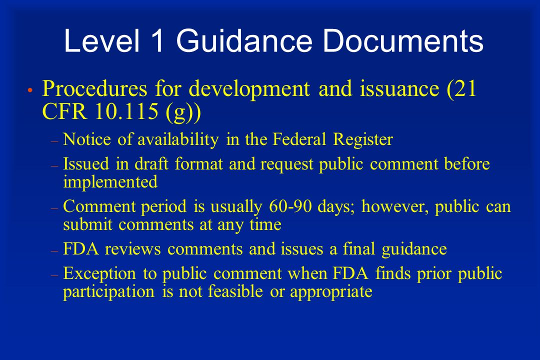 Level 1 Guidance Documents