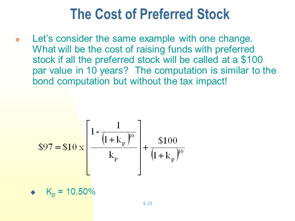 The Cost of Preferred Stock