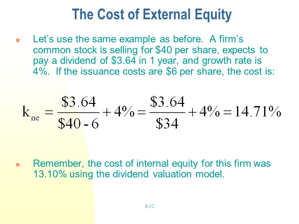 The Cost of External Equity