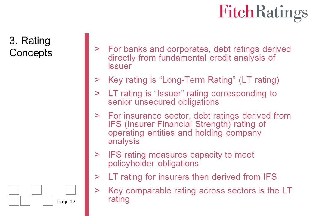 3. Rating Concepts For banks and corporates, debt ratings derived directly from fundamental credit analysis of issuer.
