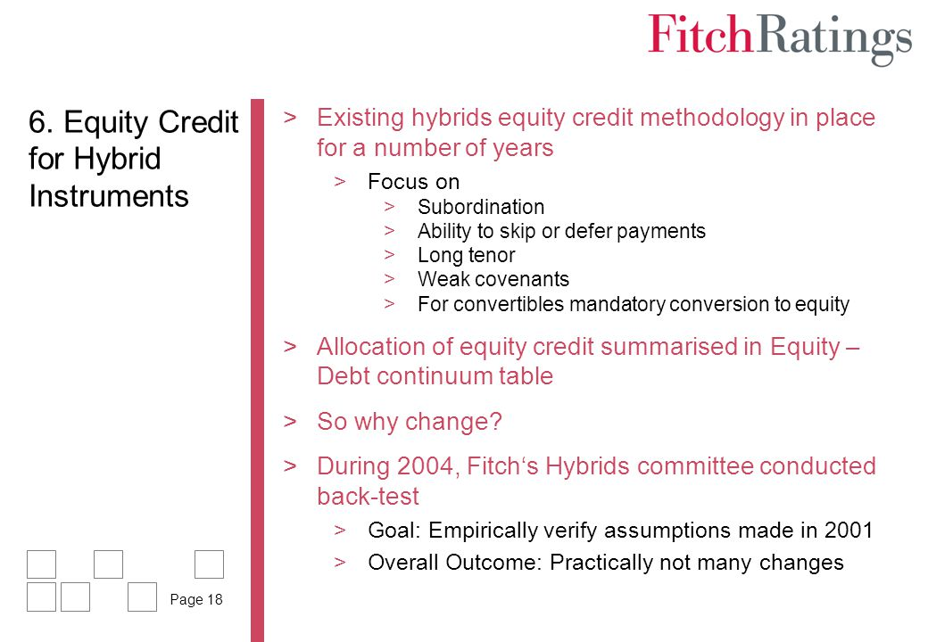 6. Equity Credit for Hybrid Instruments