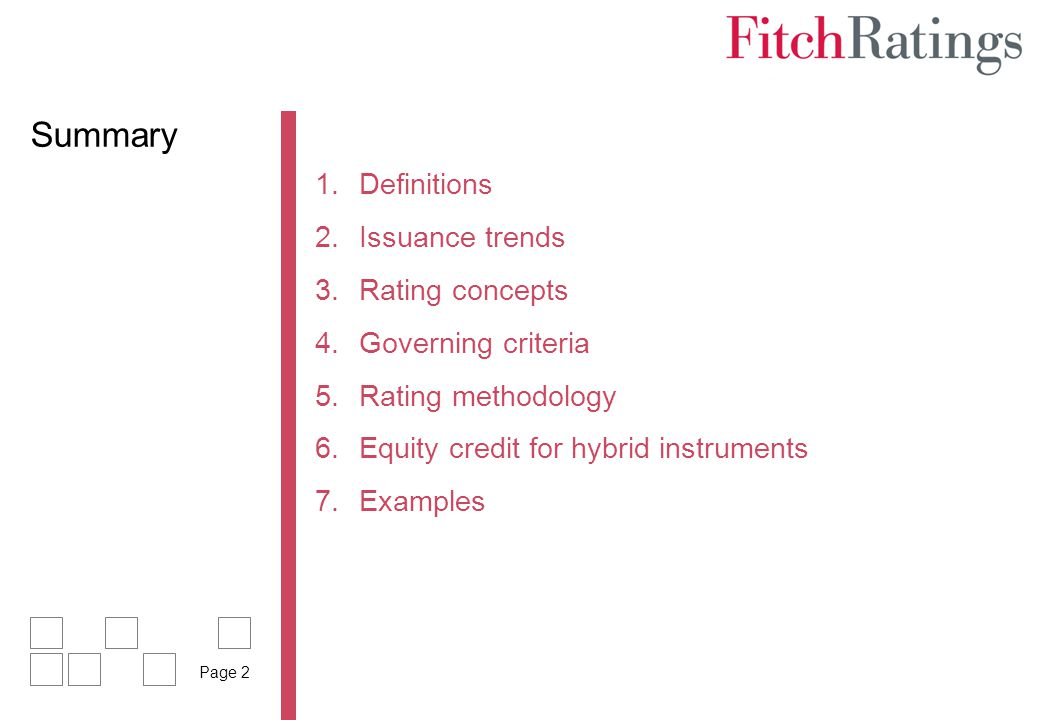 Summary Definitions Issuance trends Rating concepts Governing criteria