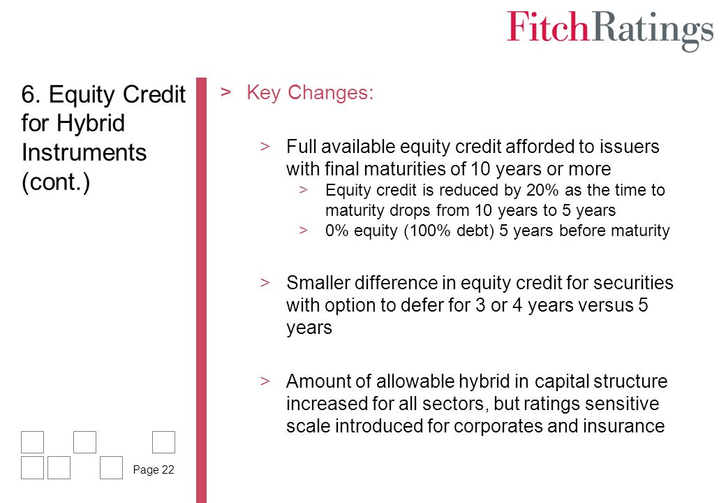 6. Equity Credit for Hybrid Instruments (cont.)