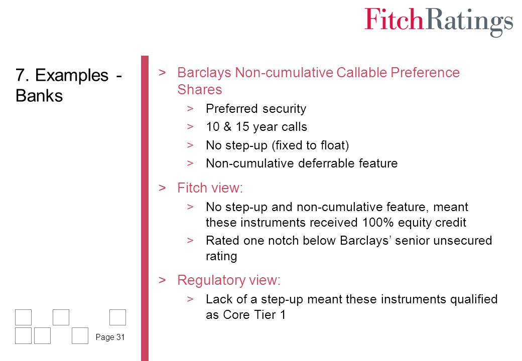 7. Examples - Banks Barclays Non-cumulative Callable Preference Shares