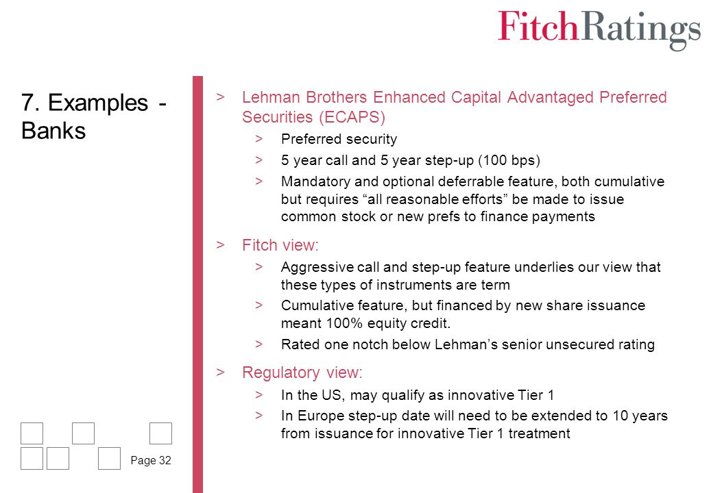 7. Examples - Banks Lehman Brothers Enhanced Capital Advantaged Preferred Securities (ECAPS) Preferred security.