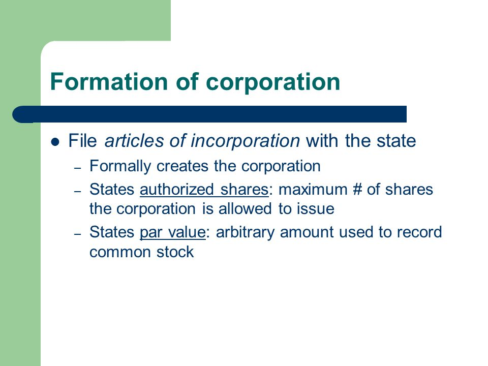 Formation of corporation
