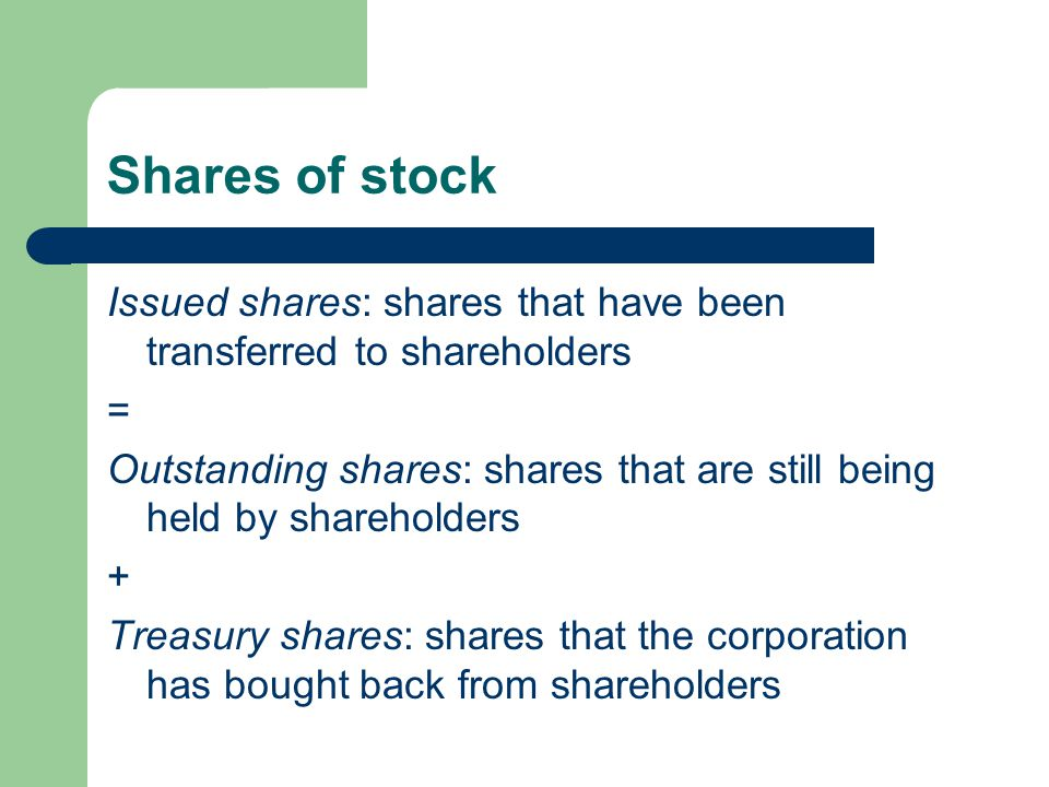 Shares of stock Issued shares: shares that have been transferred to shareholders. =