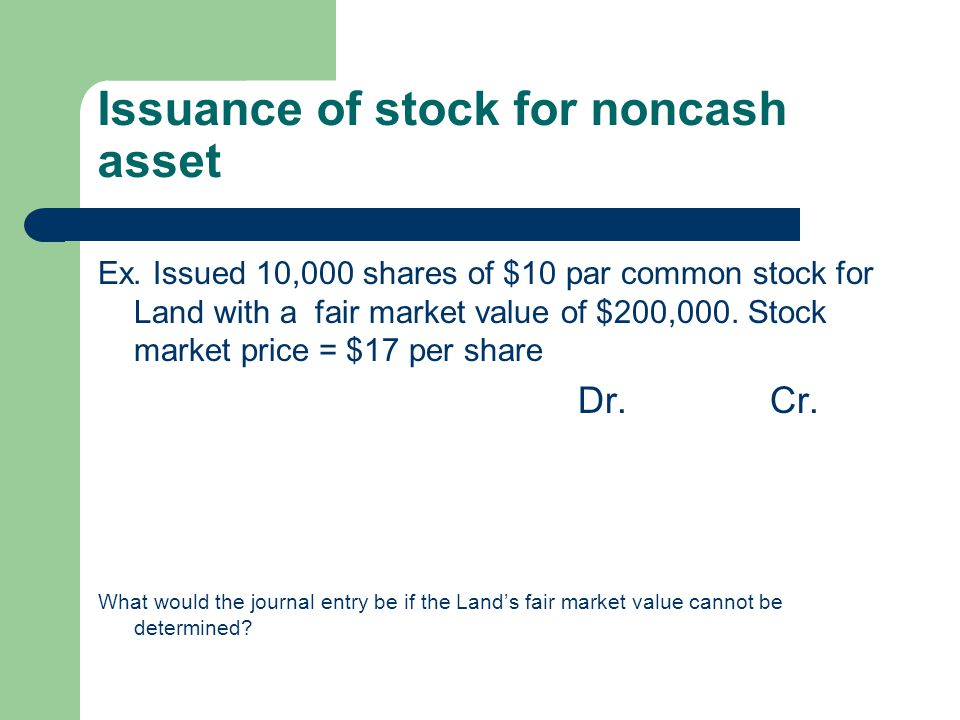Issuance of stock for noncash asset
