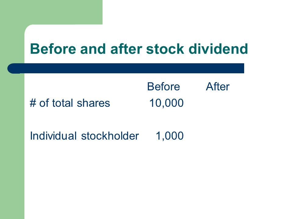 Before and after stock dividend