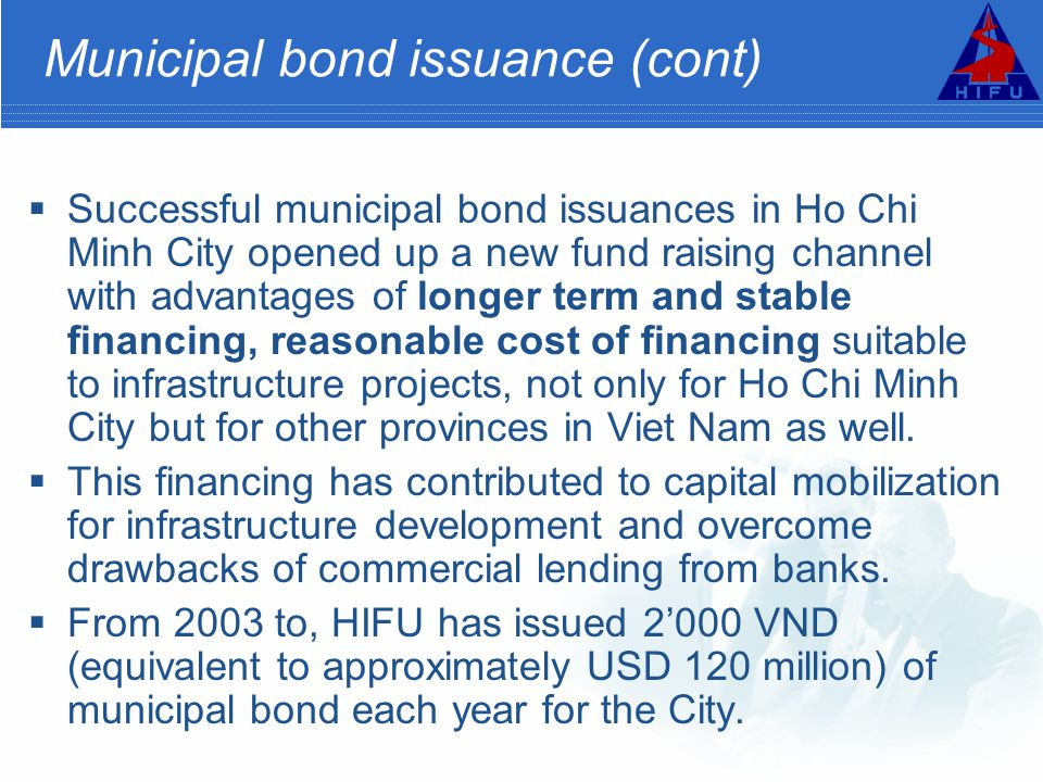 Municipal bond issuance (cont)
