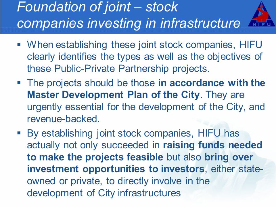Foundation of joint – stock companies investing in infrastructure