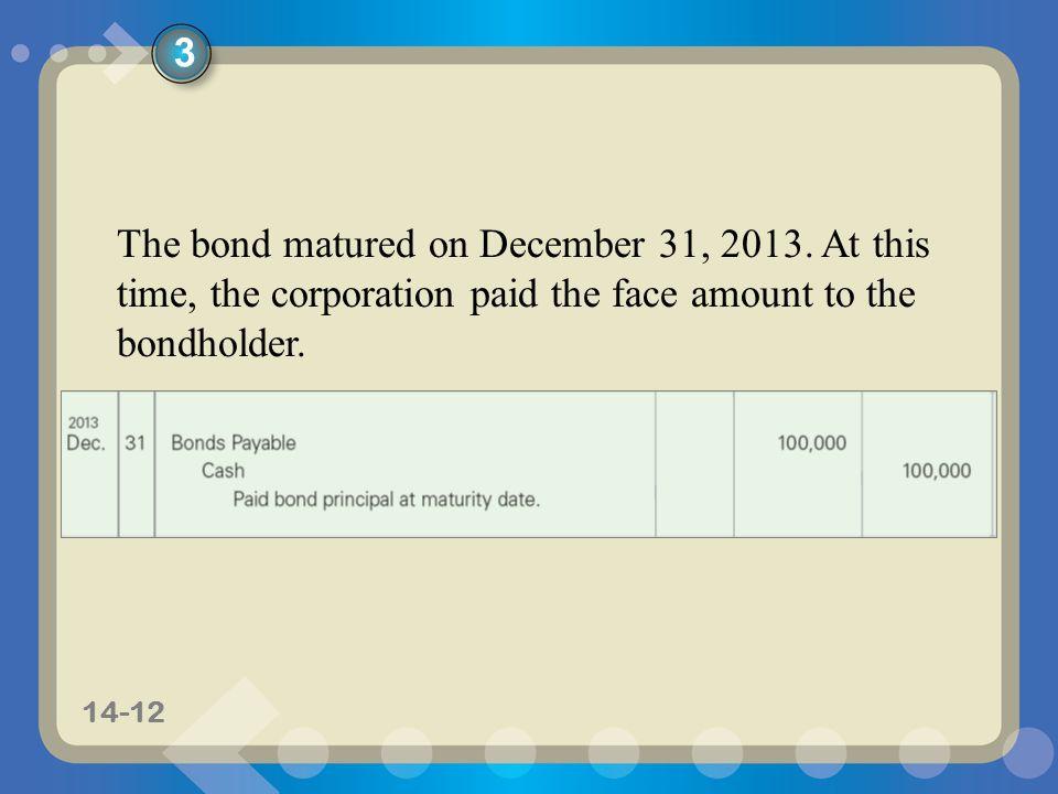 3 The bond matured on December 31, 2013.