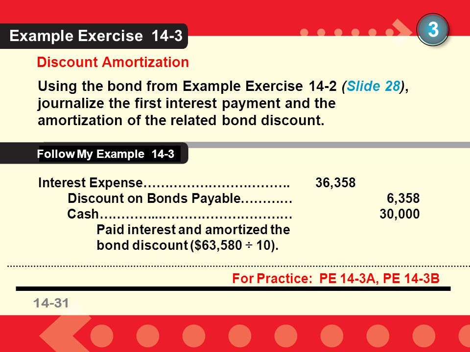 3 Example Exercise 14-3 Follow My Example 14-3 Discount Amortization