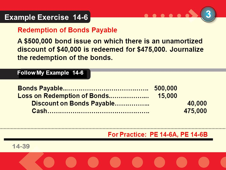 3 Example Exercise 14-6 Redemption of Bonds Payable