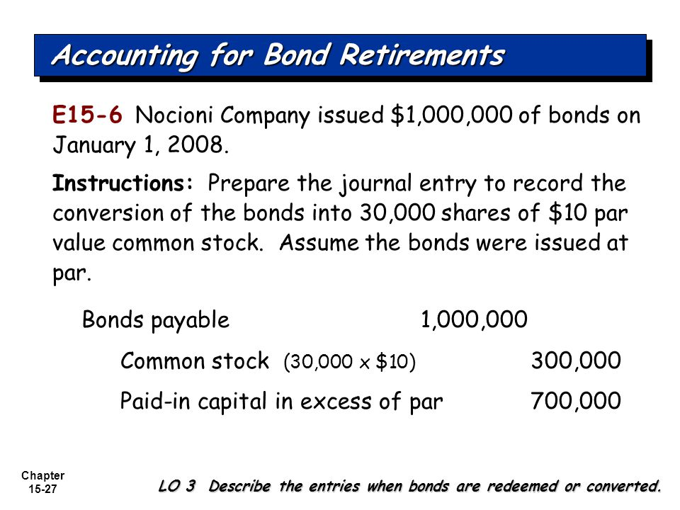 Accounting for Bond Retirements