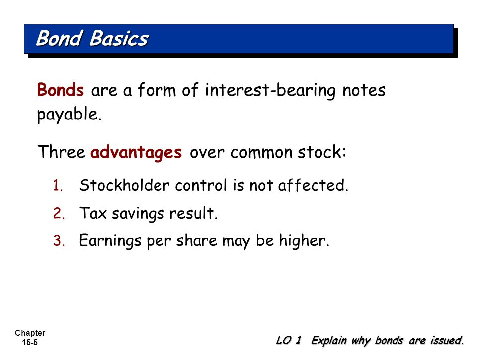 Bond Basics Bonds are a form of interest-bearing notes payable.