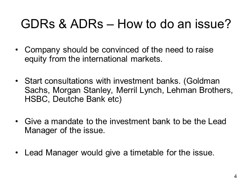 GDRs & ADRs – How to do an issue