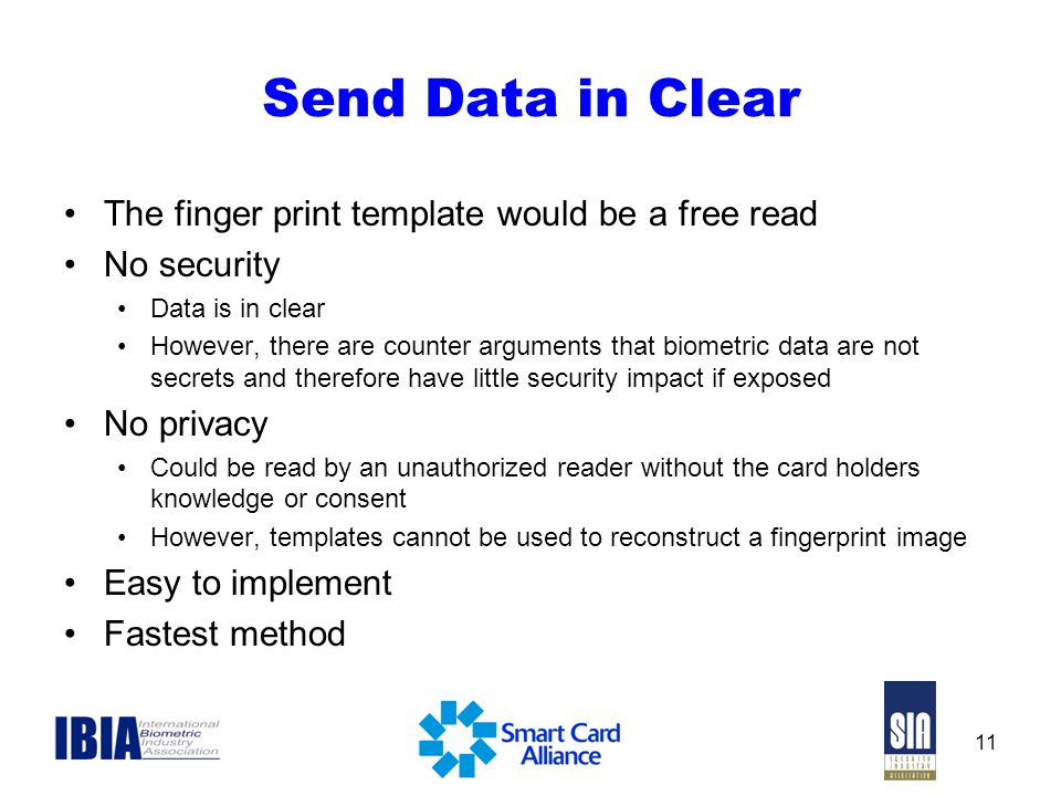 Send Data in Clear The finger print template would be a free read