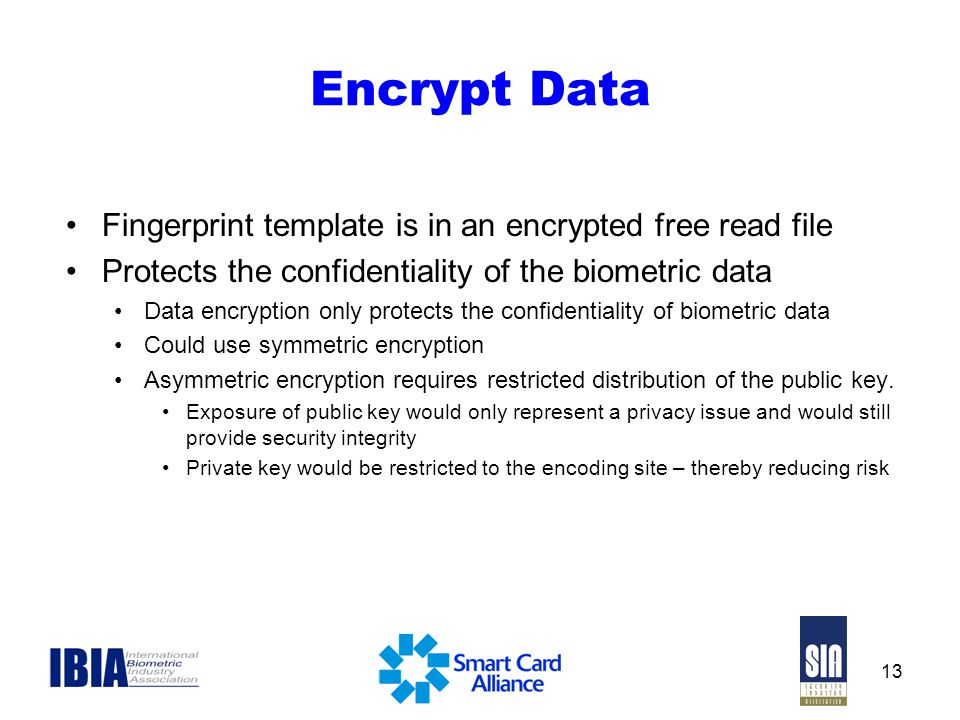 Encrypt Data Fingerprint template is in an encrypted free read file