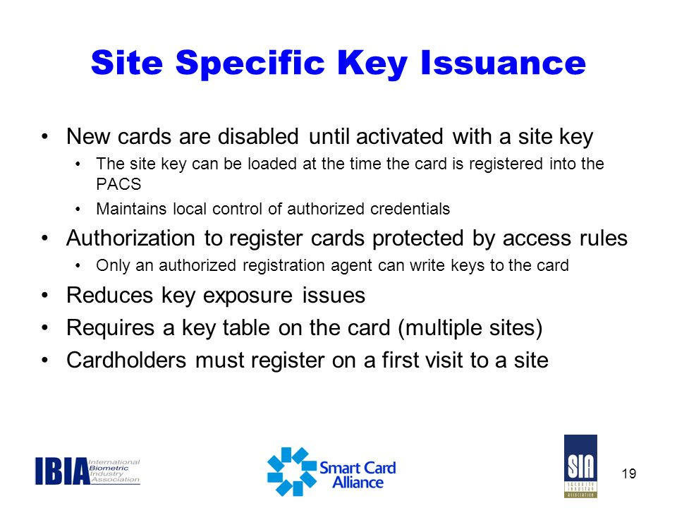 Site Specific Key Issuance