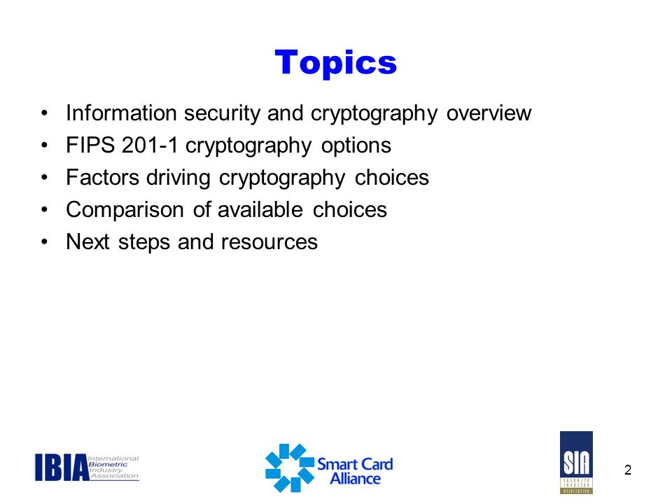 Topics Information security and cryptography overview