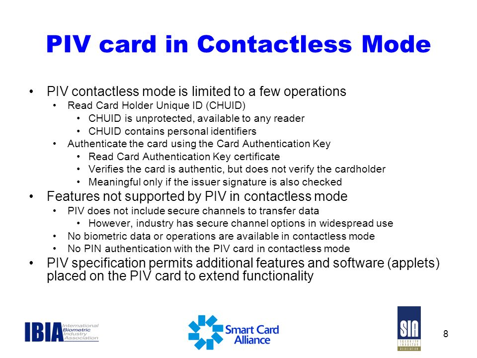 PIV card in Contactless Mode