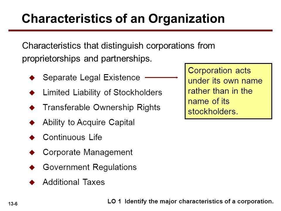 Characteristics of an Organization