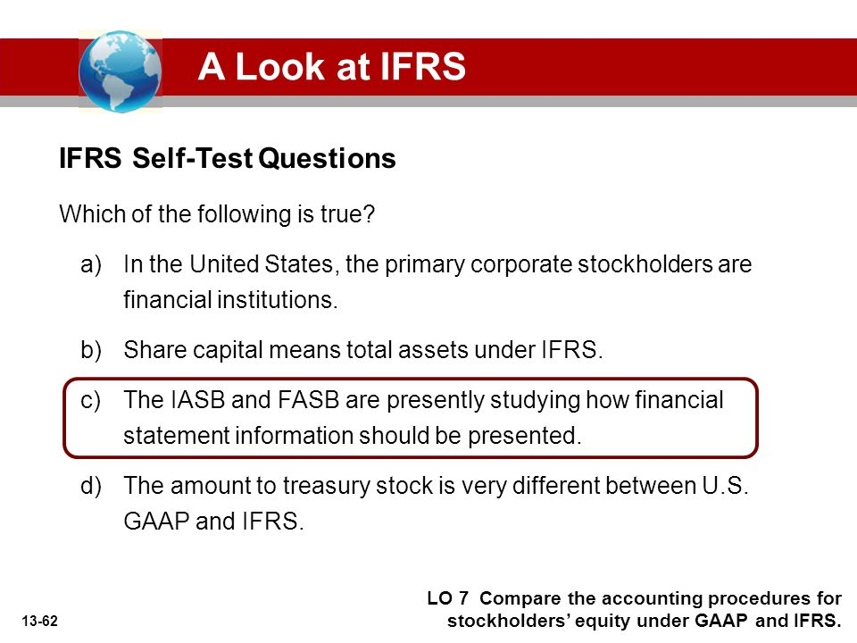 A Look at IFRS IFRS Self-Test Questions