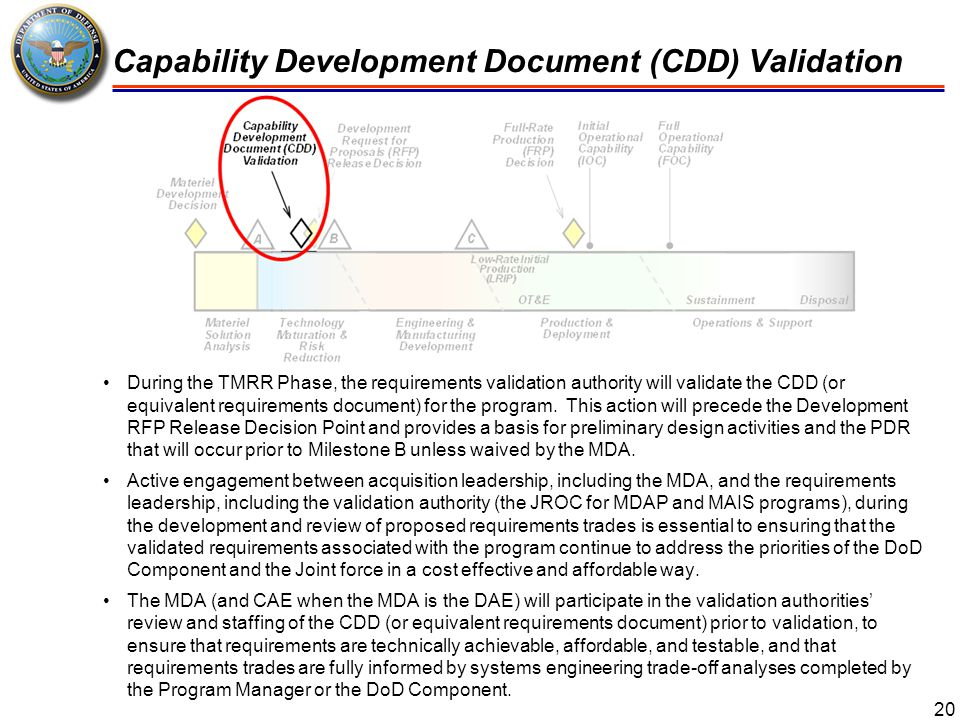 Capability Development Document (CDD) Validation