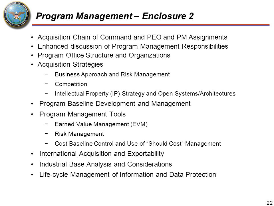 Program Management – Enclosure 2