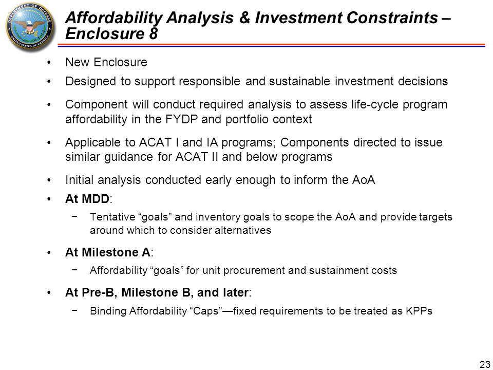 Affordability Analysis & Investment Constraints – Enclosure 8