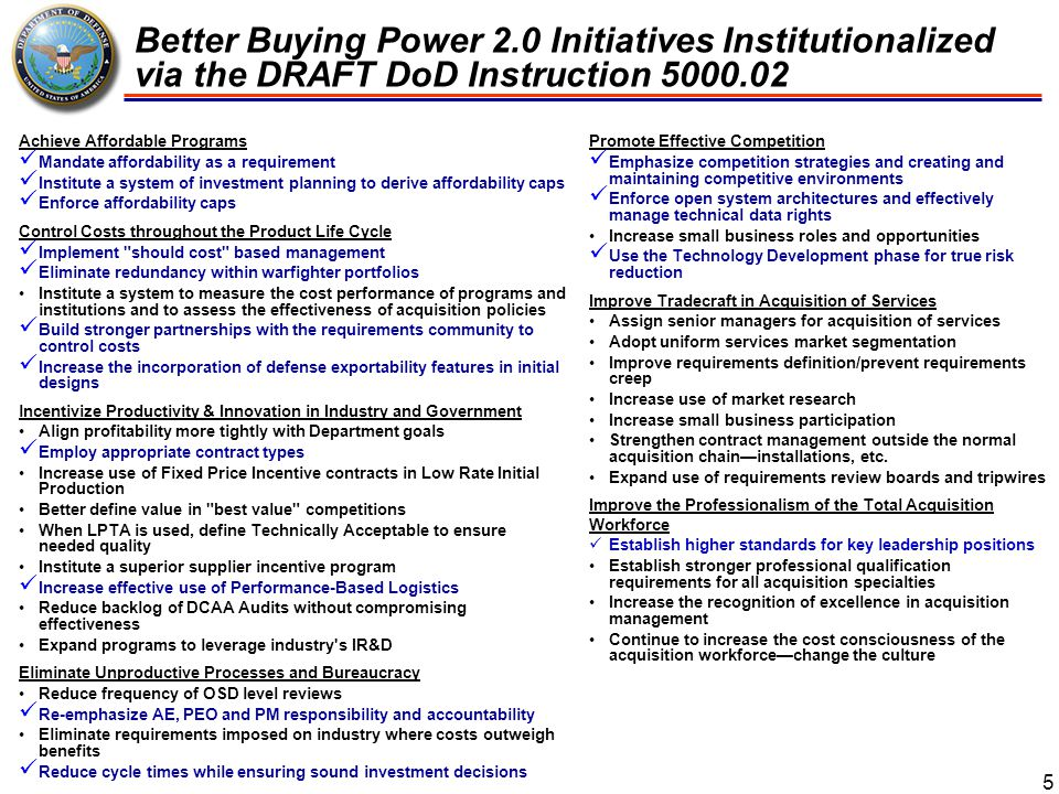 Better Buying Power 2.0 Initiatives Institutionalized via the DRAFT DoD Instruction 5000.02