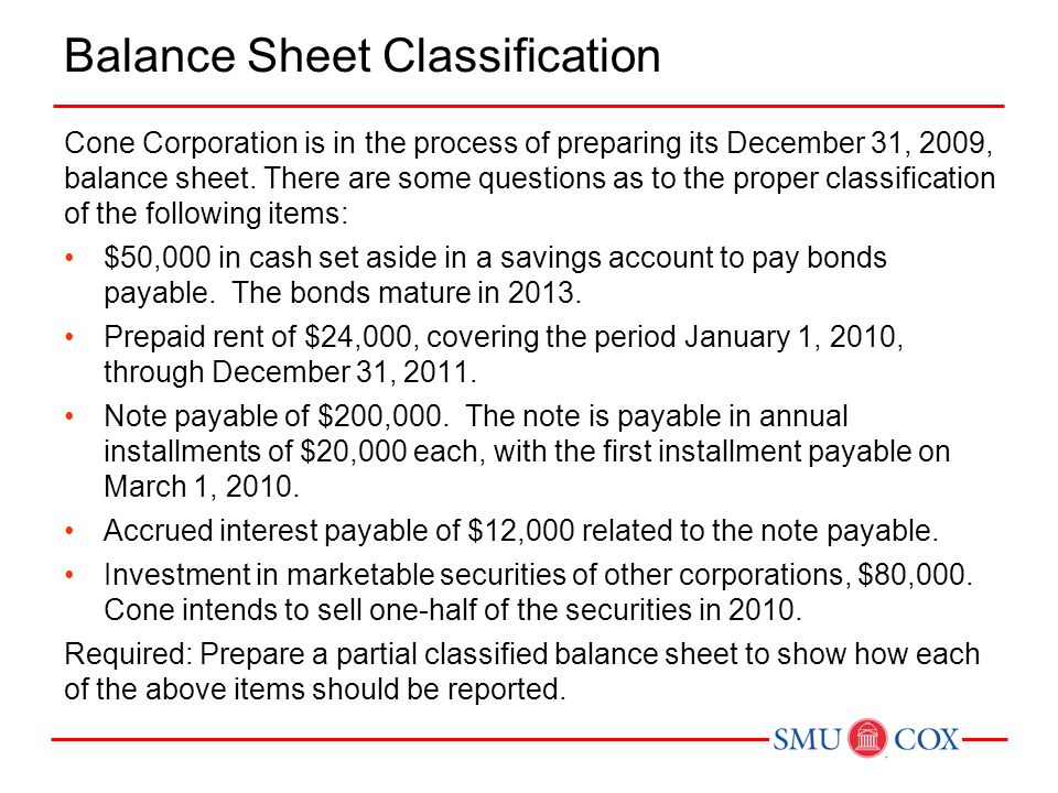 Balance Sheet Classification