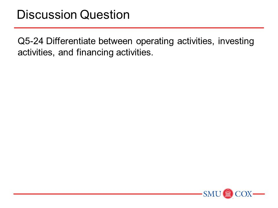 Discussion Question Q5-24 Differentiate between operating activities, investing activities, and financing activities.