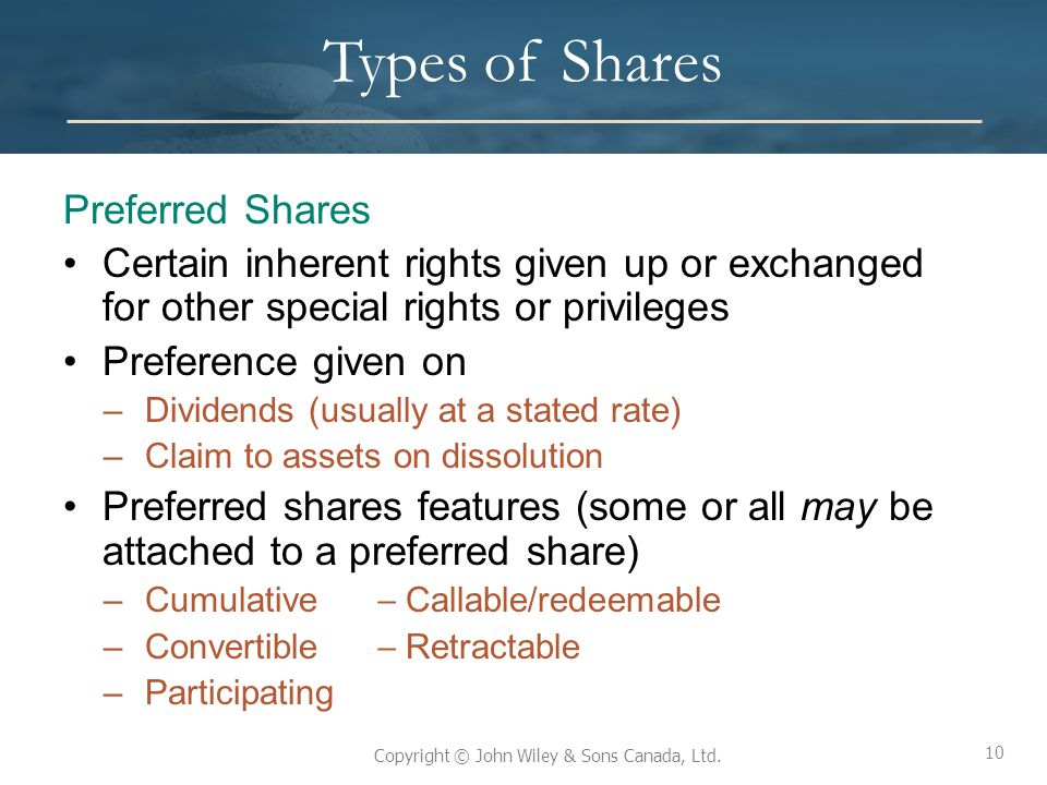 Types of Shares Preferred Shares