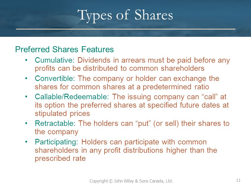 Types of Shares Preferred Shares Features