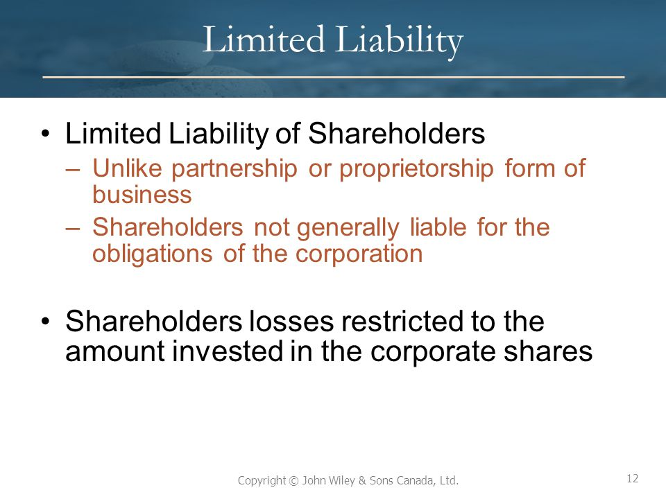 Limited Liability Limited Liability of Shareholders